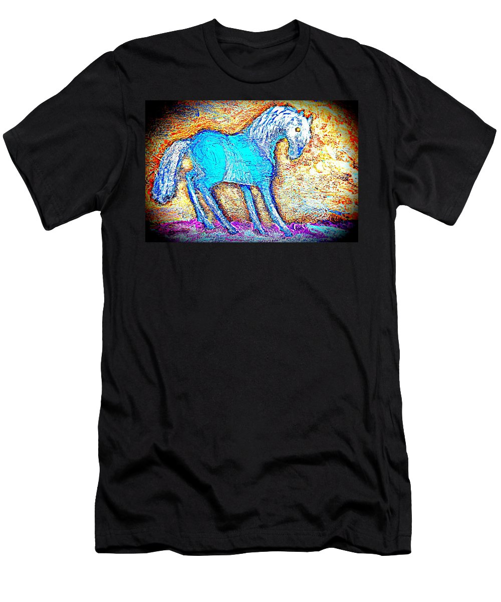 Horse Men's T-Shirt (Athletic Fit) featuring the painting Look At Me Now, I'm So Blue by Hilde Widerberg