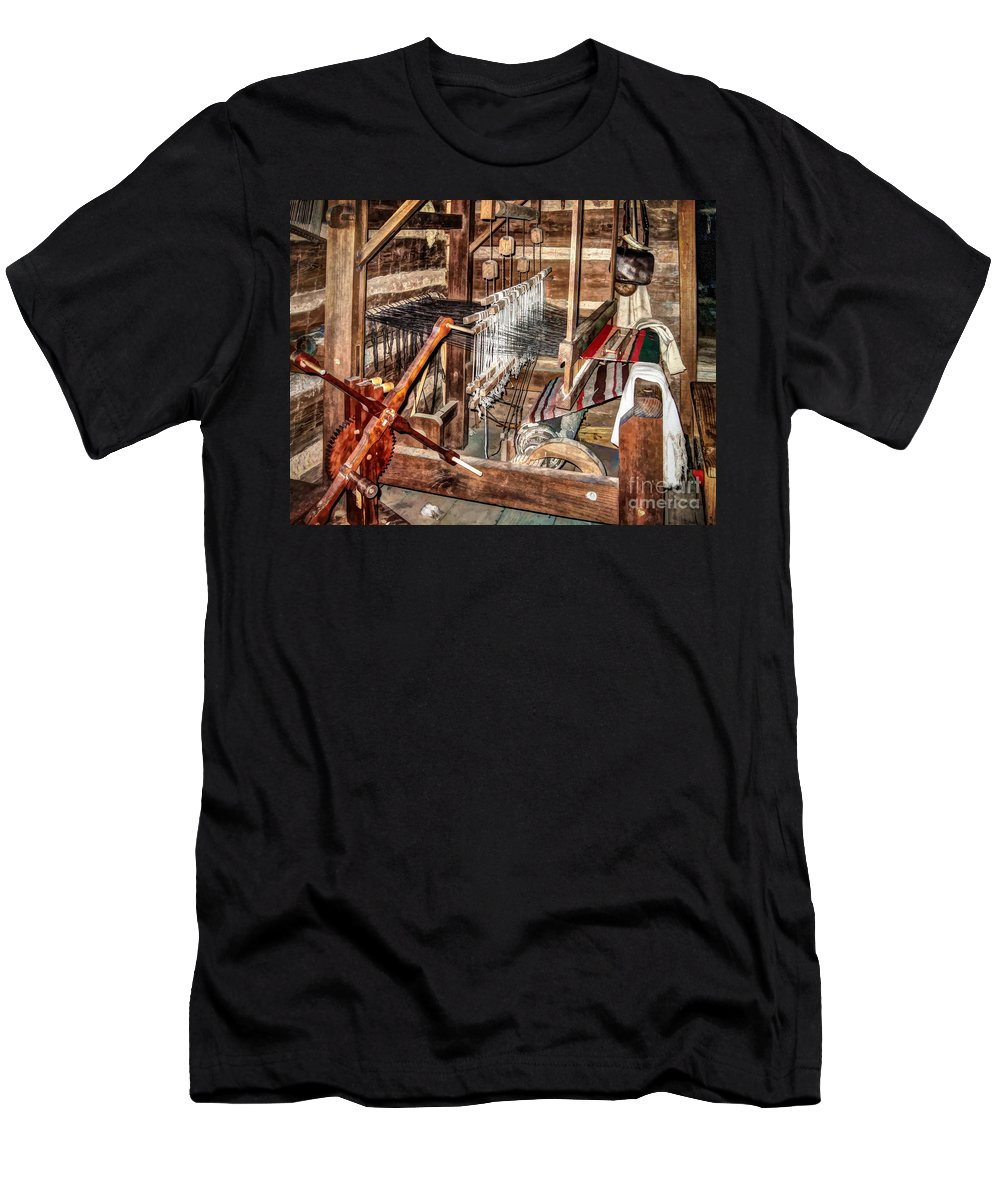 Old Weaving Loom Men's T-Shirt (Athletic Fit) featuring the photograph Loom by Savannah Gibbs