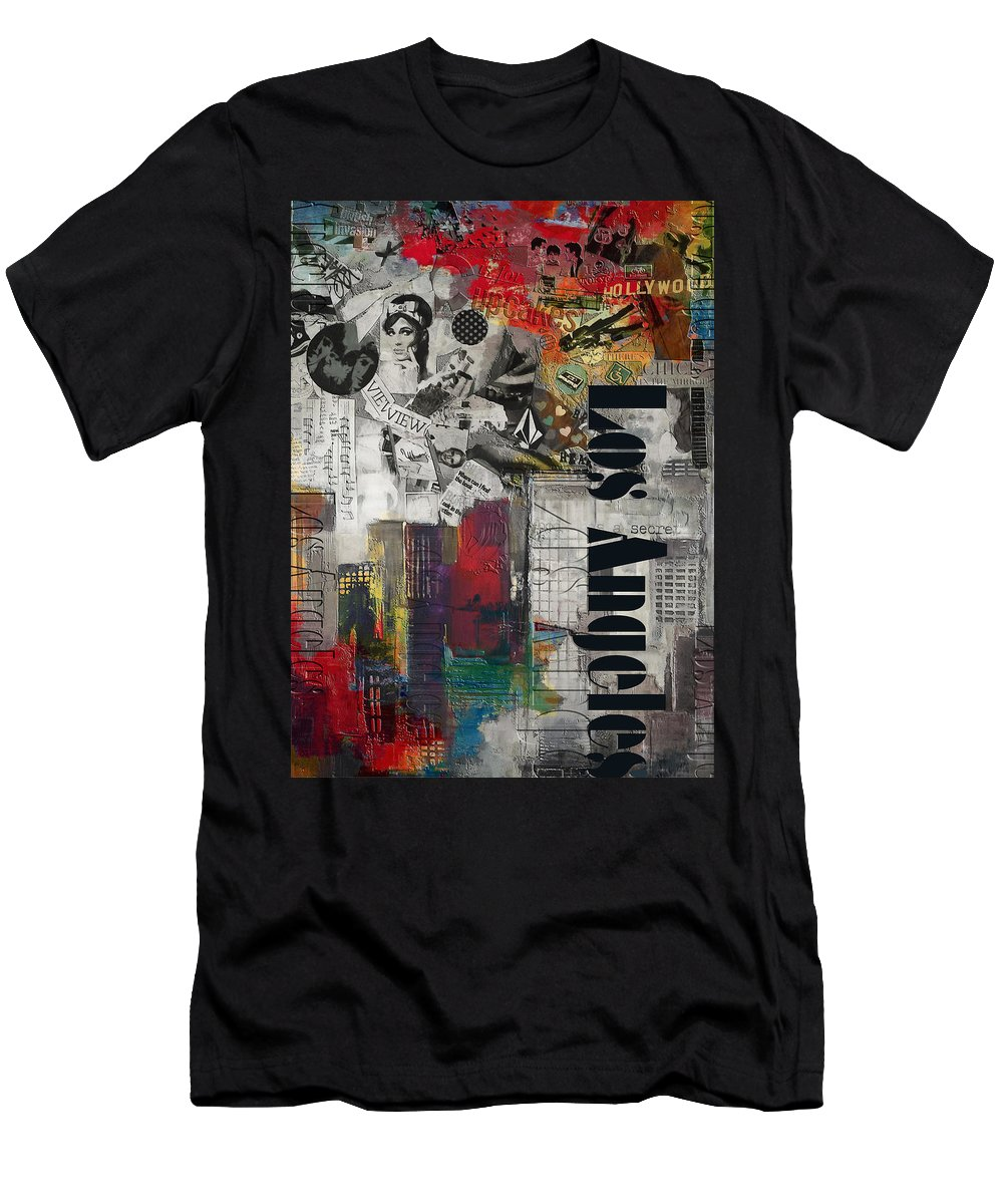 Los Angeles Men's T-Shirt (Athletic Fit) featuring the painting Los Angeles Collage Alternative by Corporate Art Task Force