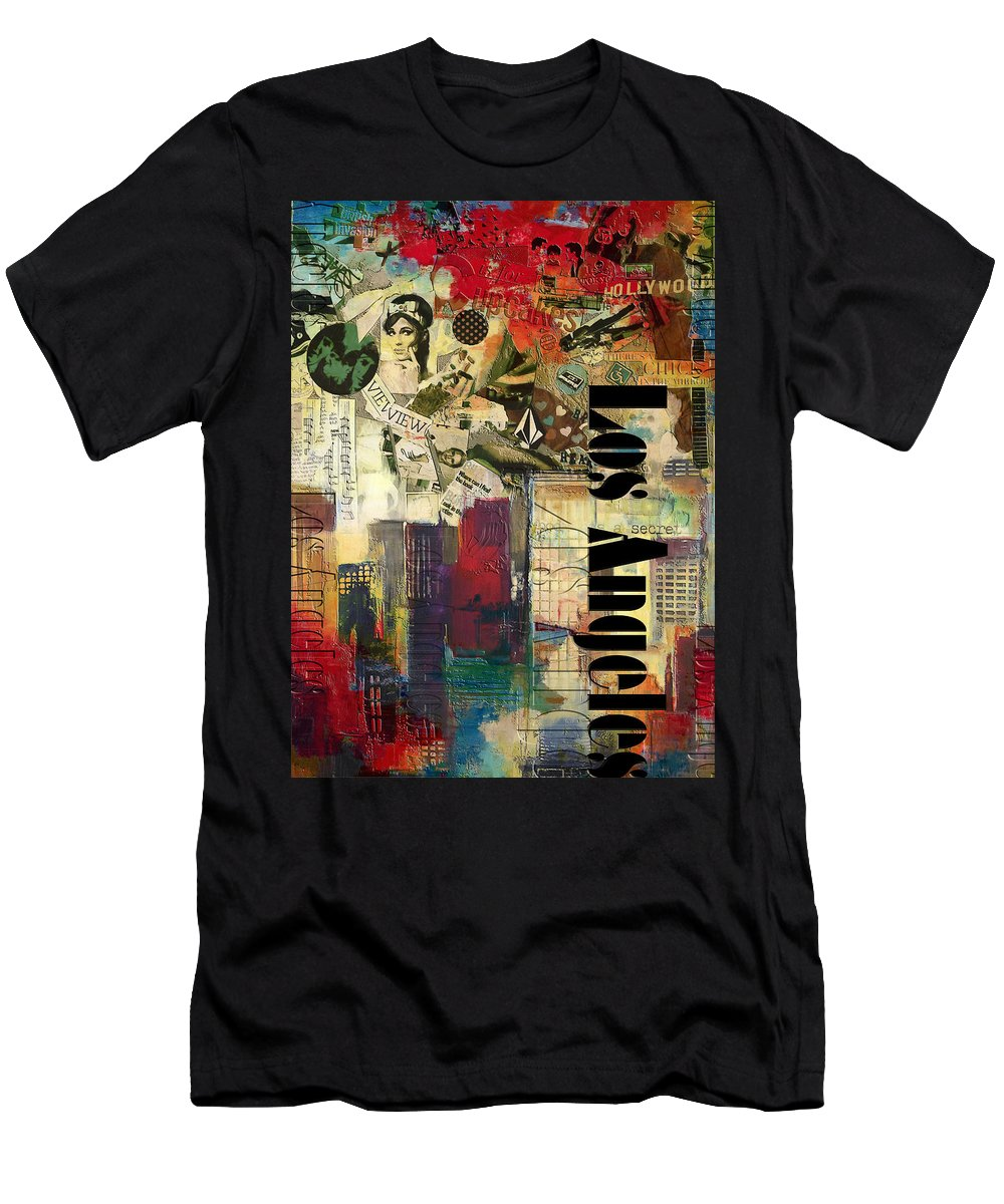 Los Angeles Men's T-Shirt (Athletic Fit) featuring the painting Los Angeles Collage by Corporate Art Task Force