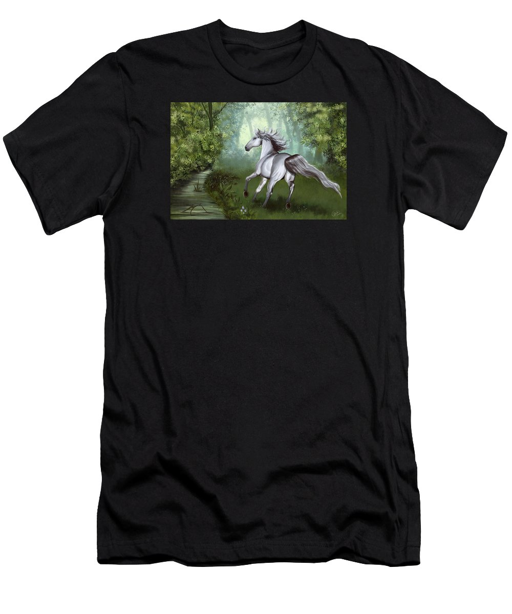 Horse Men's T-Shirt (Athletic Fit) featuring the digital art Lost In The Forest by Kate Black