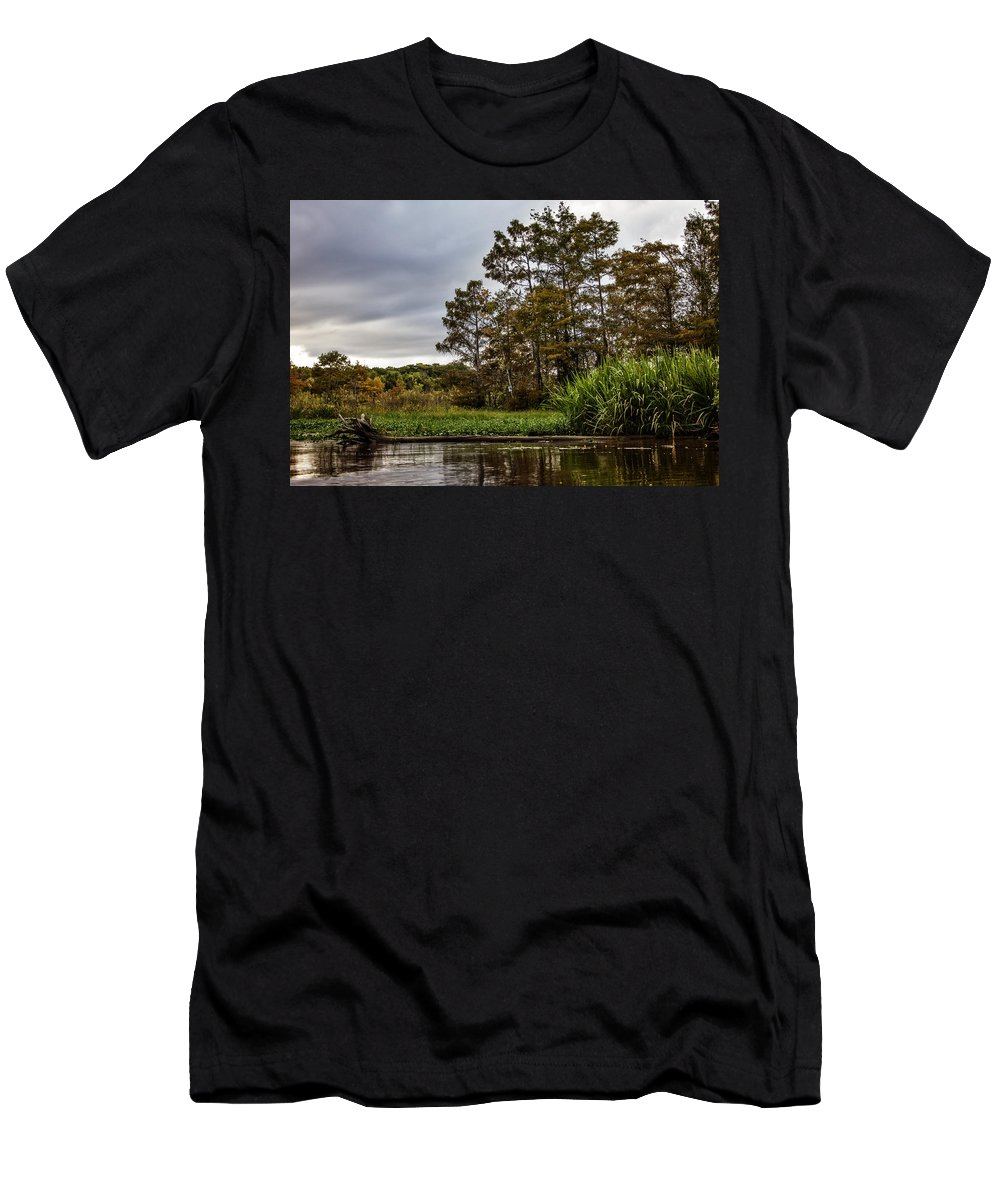 Swamp Men's T-Shirt (Athletic Fit) featuring the photograph Louisiana Landscape by Diana Powell