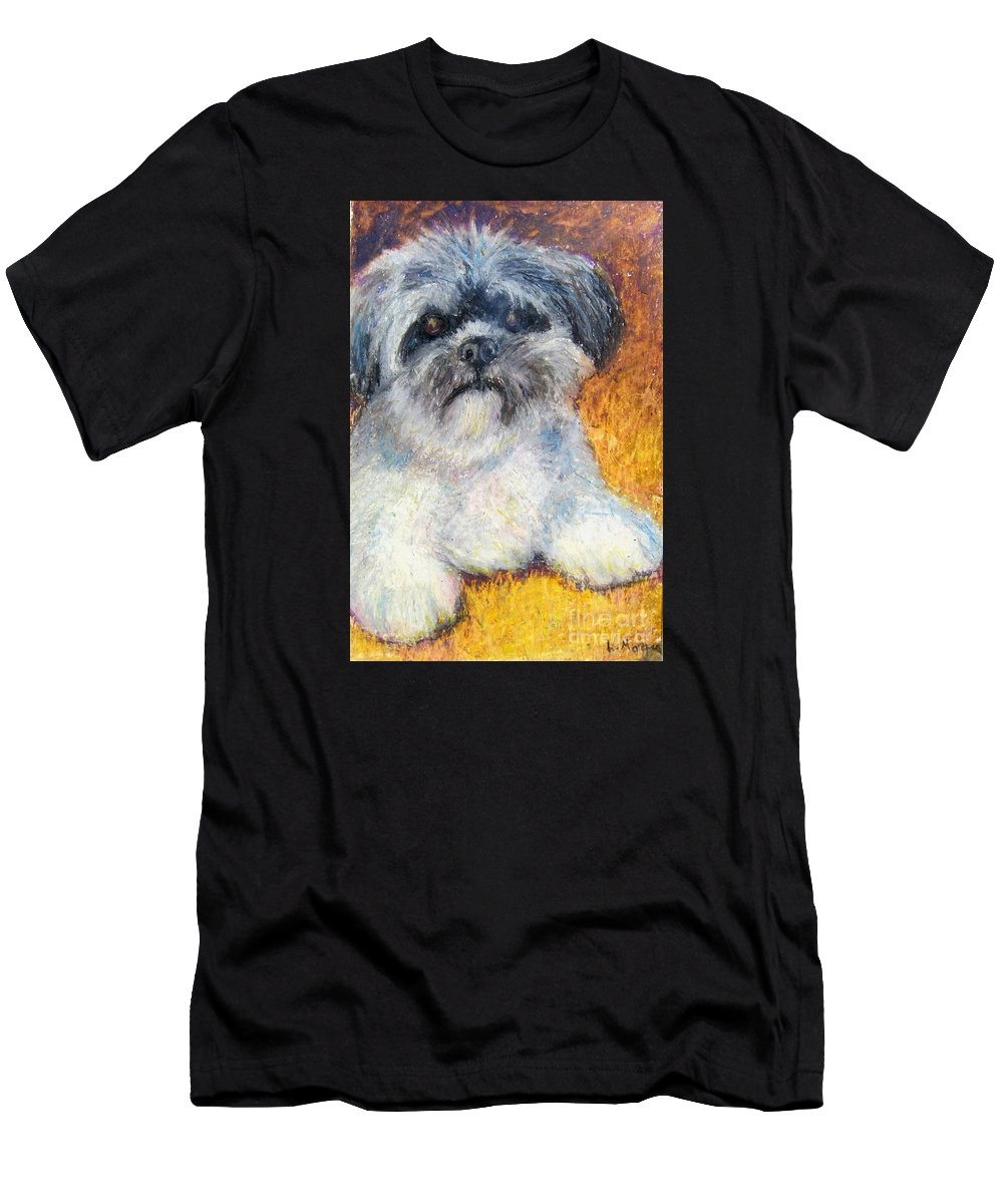 Lhasa Apso Men's T-Shirt (Athletic Fit) featuring the painting Love My Lhasa by Laurie Morgan
