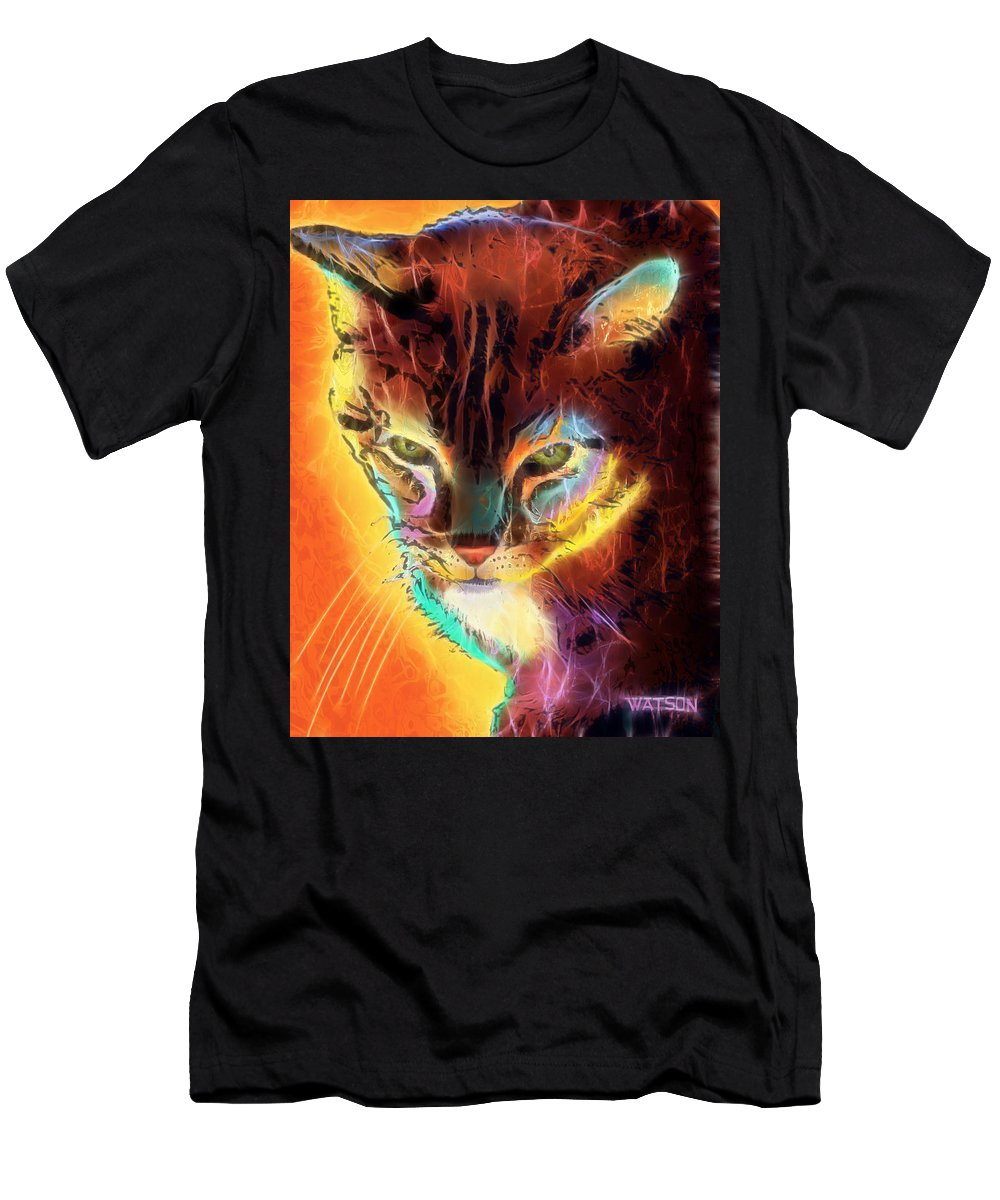 Colorful Men's T-Shirt (Athletic Fit) featuring the digital art Lovely Lulu The Cat by Marlene Watson