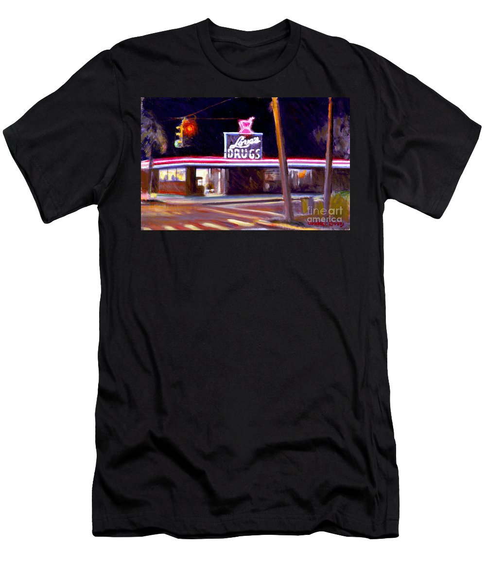 Delray Beach Men's T-Shirt (Athletic Fit) featuring the painting Love's Drugs by Candace Lovely