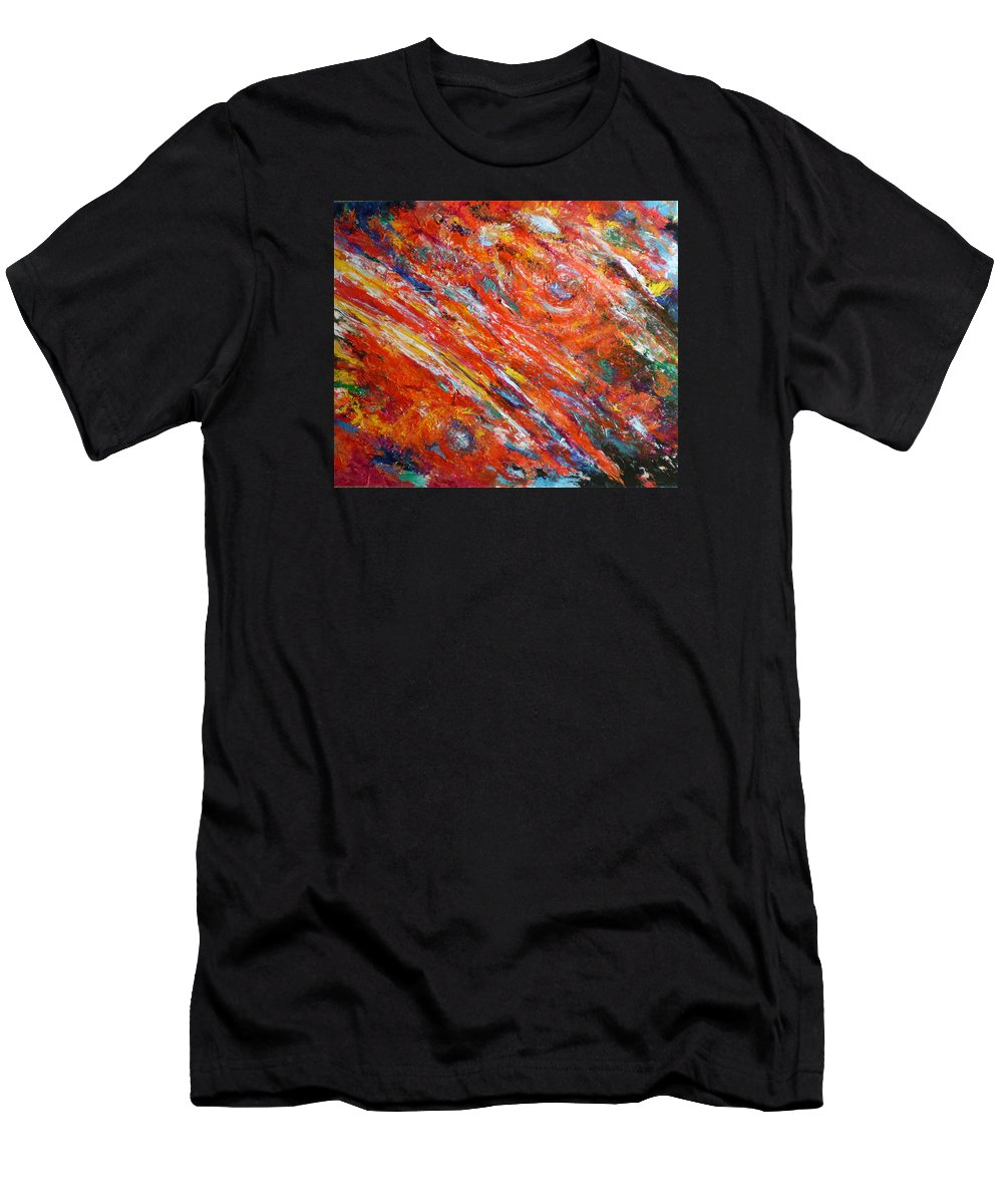 Abstract Men's T-Shirt (Athletic Fit) featuring the painting Loves Fire by Michael Durst