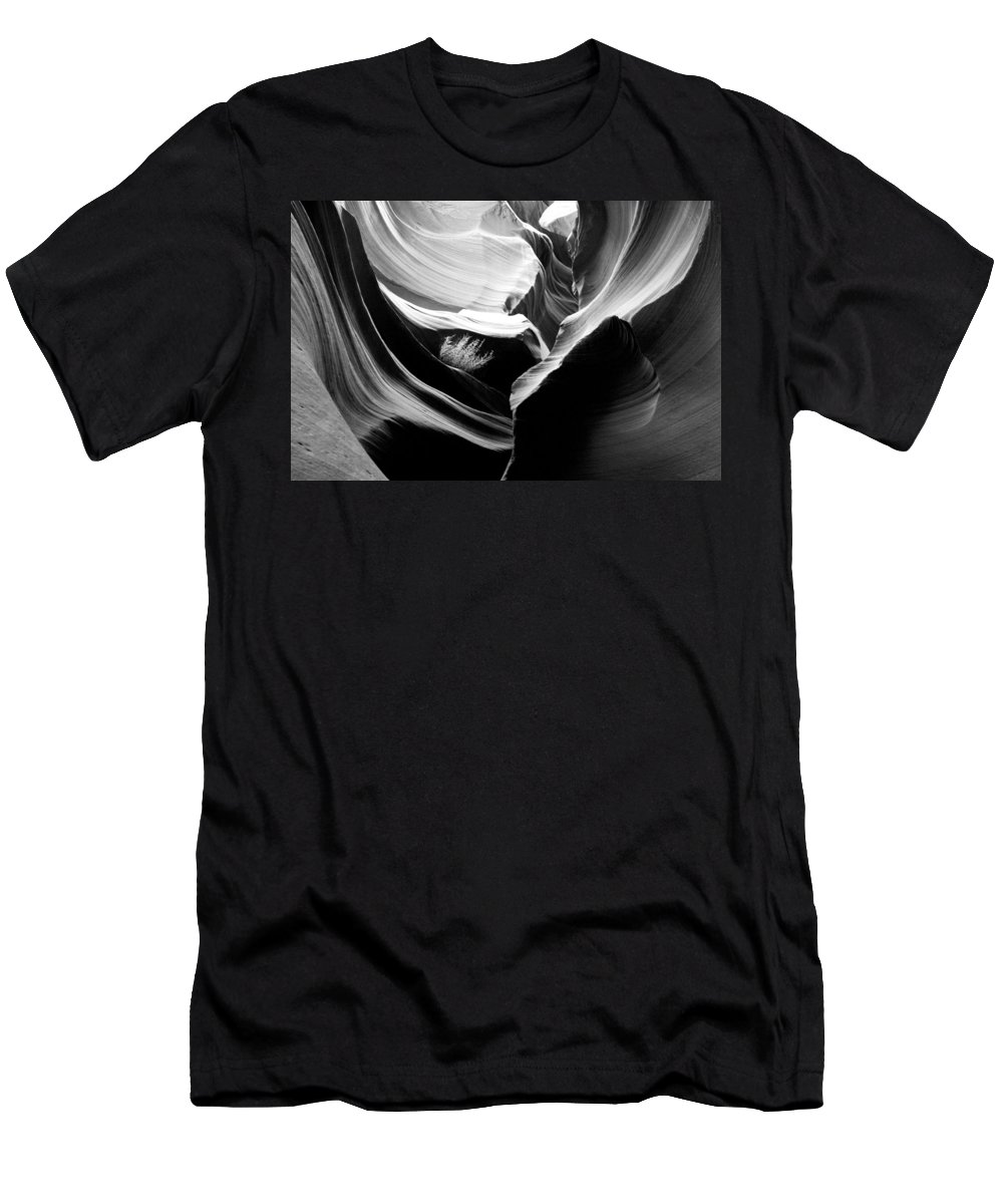 Lower Antelope Canyon Photograph In Black And White Men's T-Shirt (Athletic Fit) featuring the photograph Lower Antelope Canyon Shrub by Mae Wertz