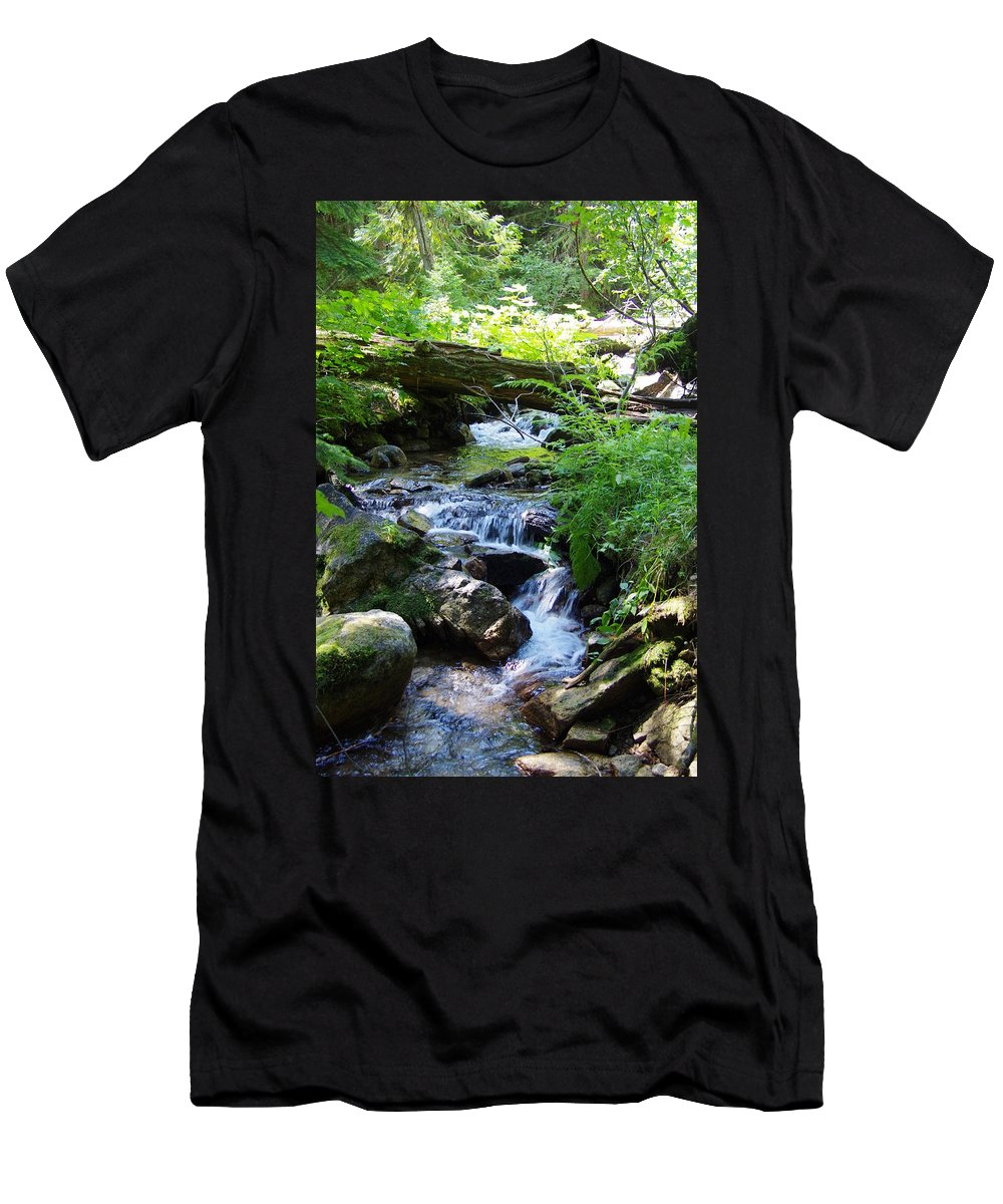 Water Falls Men's T-Shirt (Athletic Fit) featuring the photograph Lower Granite Falls 2 by Mike Wheeler