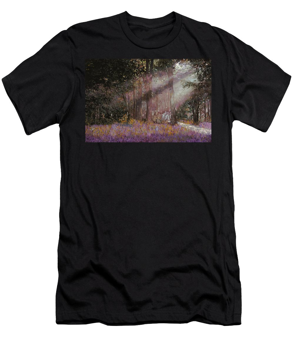 Wood Men's T-Shirt (Athletic Fit) featuring the painting Luci by Guido Borelli
