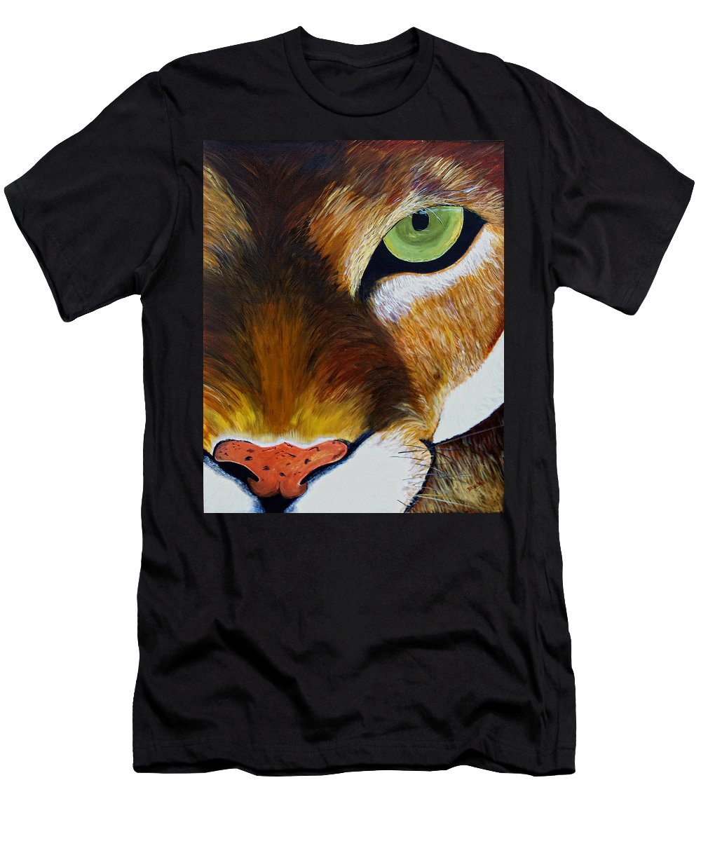 Mountain Lion Men's T-Shirt (Athletic Fit) featuring the painting Lunch by Donna Blackhall