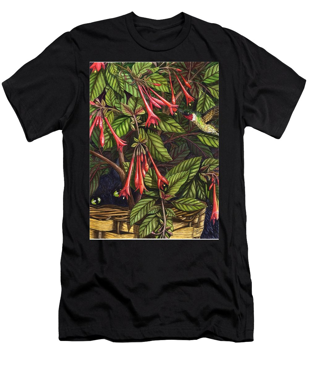 Fuchsia Men's T-Shirt (Athletic Fit) featuring the painting Lurking by Catherine G McElroy