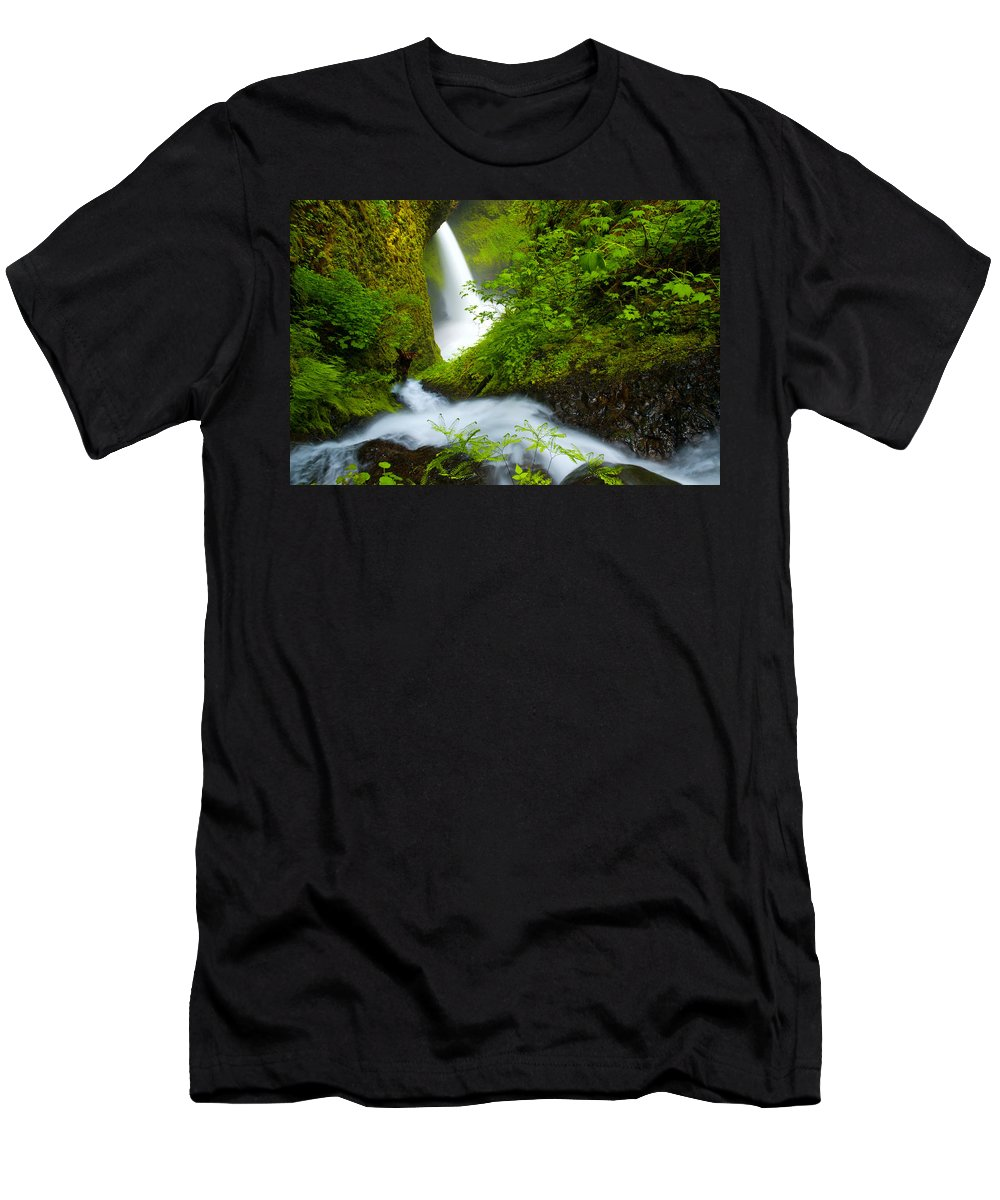 Lush Men's T-Shirt (Athletic Fit) featuring the photograph Lush Gorge Falls by Darren White