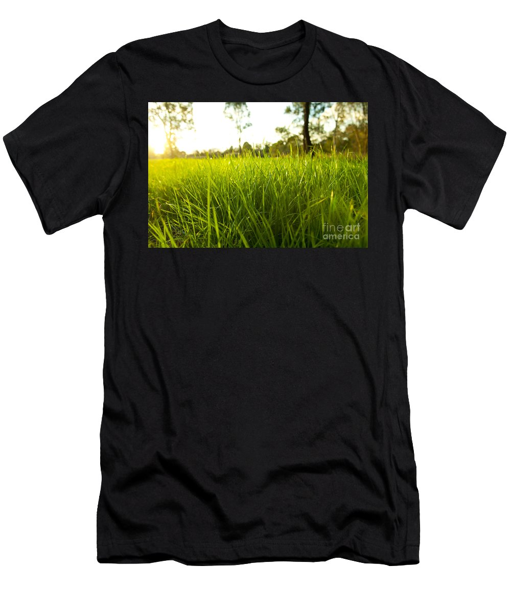 Abstract Men's T-Shirt (Athletic Fit) featuring the photograph Lush Grass by Tim Hester
