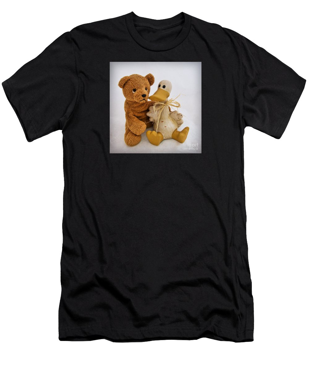 Teddy Bear Men's T-Shirt (Athletic Fit) featuring the photograph Luv A Duck by Susie Peek