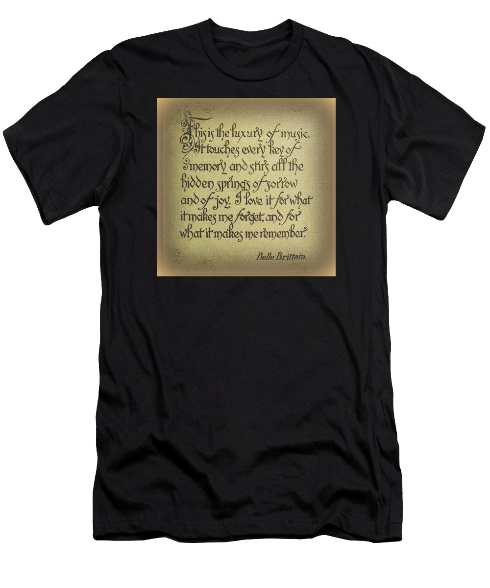 Saying Men's T-Shirt (Athletic Fit) featuring the photograph Luxury Of Music by Jodie Marie Anne Richardson Traugott     aka jm-ART