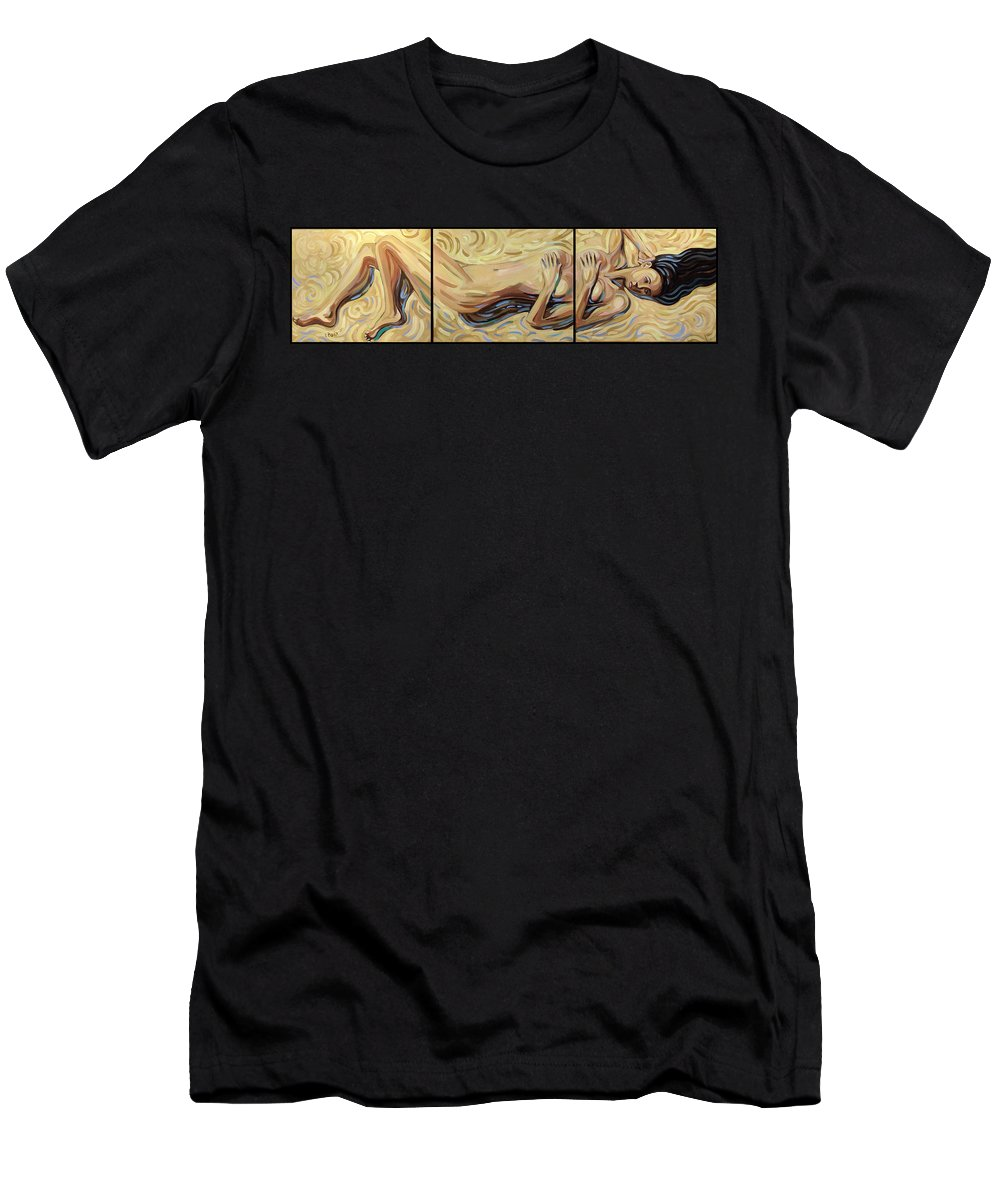 Sand Men's T-Shirt (Athletic Fit) featuring the painting Lying At The Sand by Rita Pranca