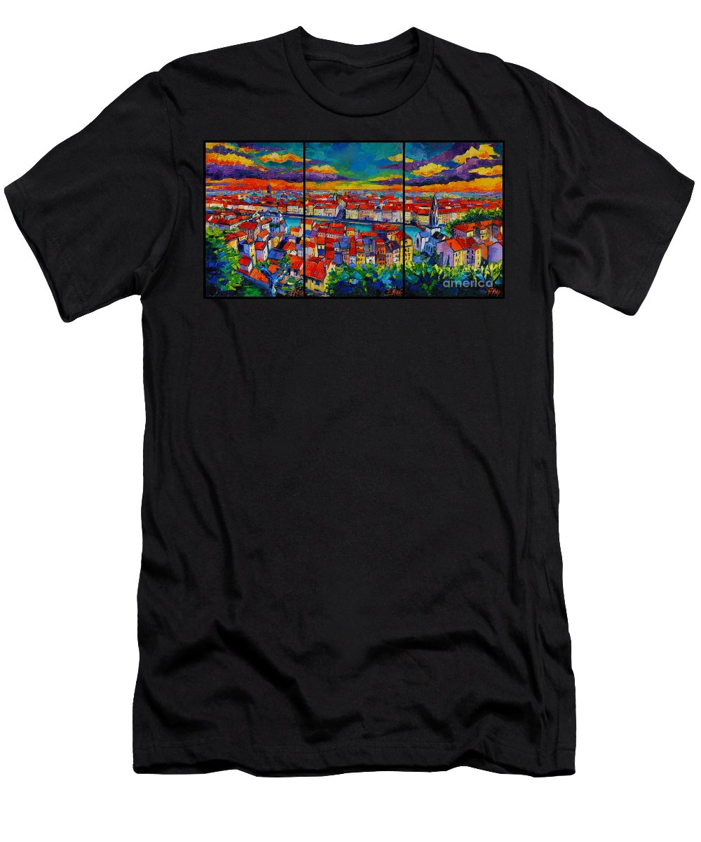 Lyon Panorama Men's T-Shirt (Athletic Fit) featuring the painting Lyon Panorama Triptych by Mona Edulesco