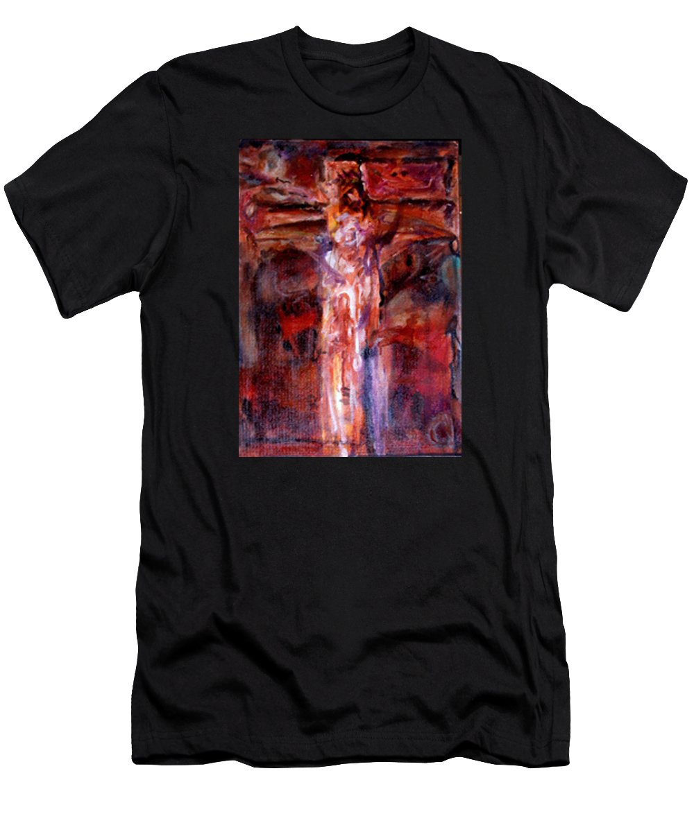 Crucifixion Men's T-Shirt (Athletic Fit) featuring the painting Mhc #080812 by John Warren OAKES