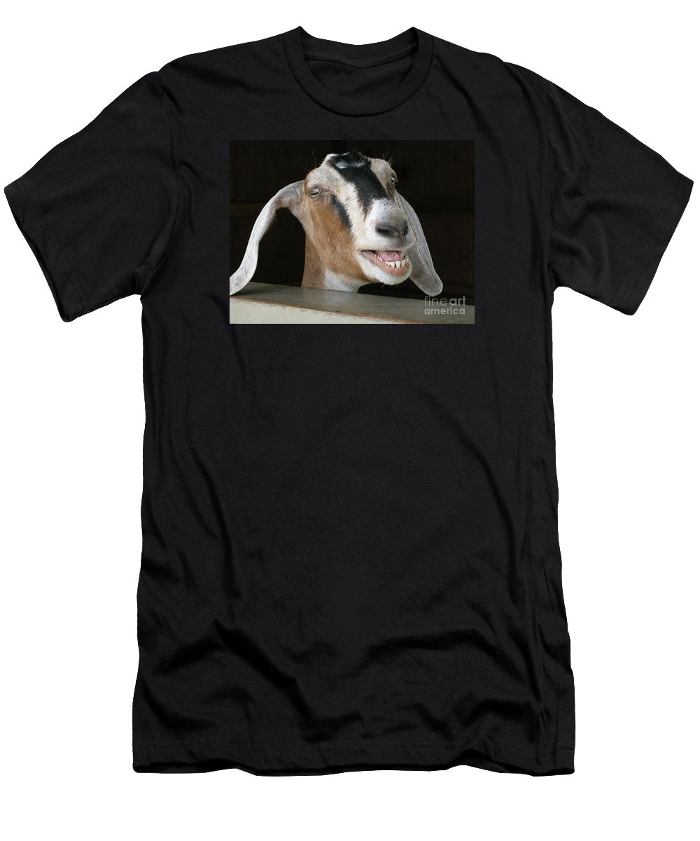 Goat Men's T-Shirt (Athletic Fit) featuring the photograph Maa-aaa by Ann Horn