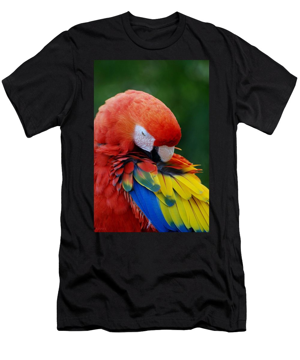 Macaws Men's T-Shirt (Athletic Fit) featuring the photograph Macaws Of Color26 by Rob Hans