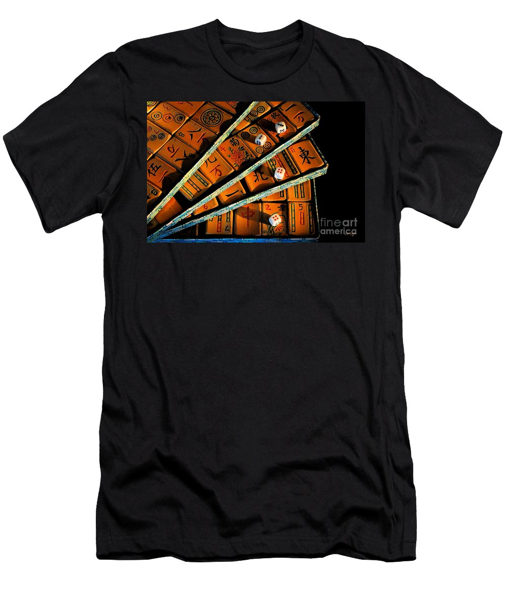 Still Life Men's T-Shirt (Athletic Fit) featuring the photograph Mad For Mahjong by Lois Bryan