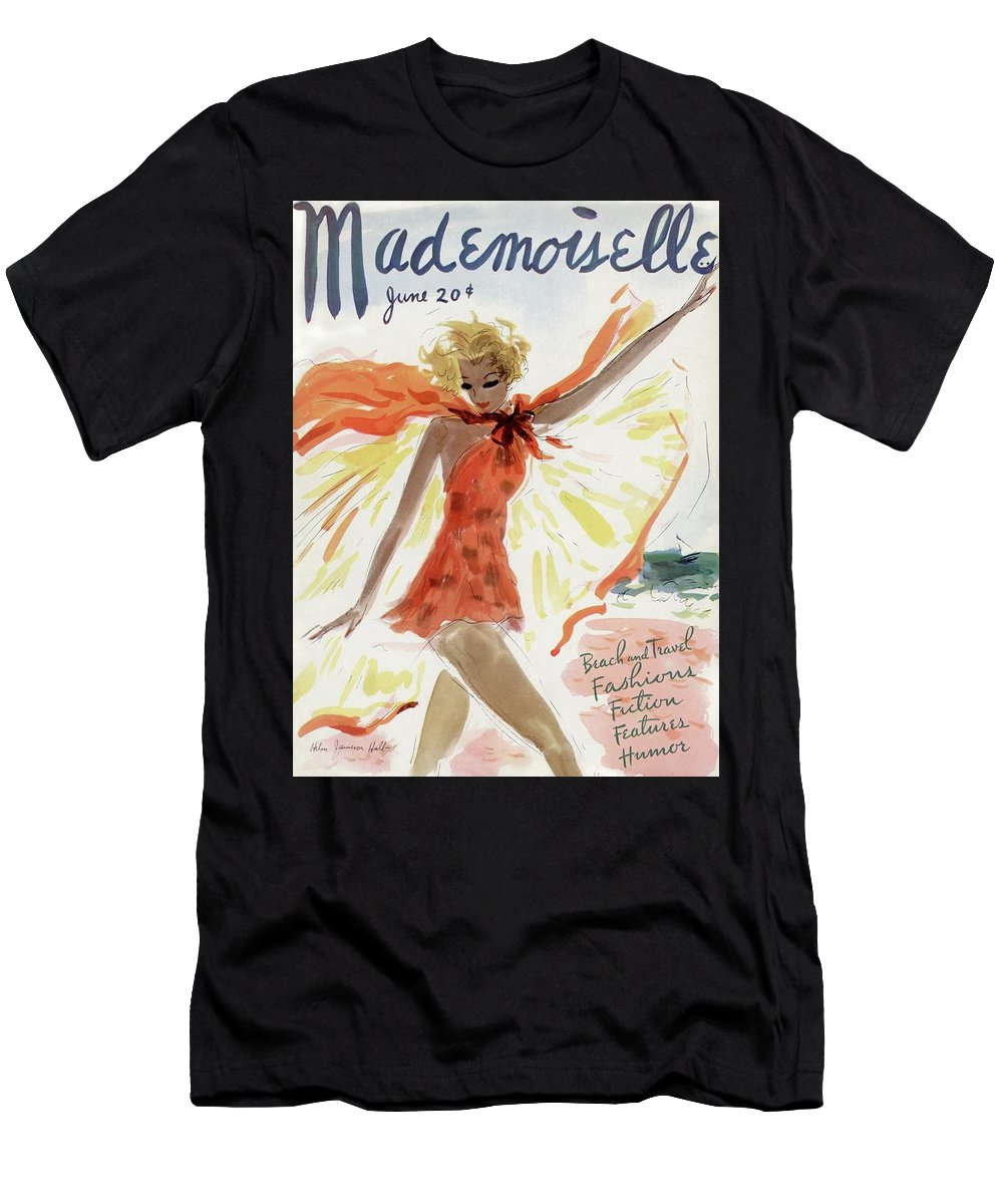 Illustration Men's T-Shirt (Athletic Fit) featuring the photograph Mademoiselle Cover Featuring A Model At The Beach by Helen Jameson Hall
