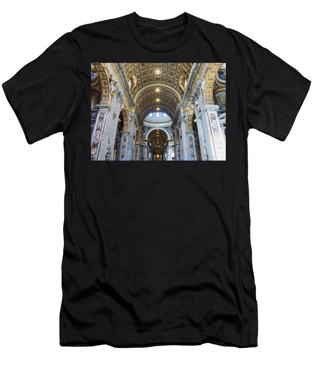 Madernos Nave Ceiling Men's T-Shirt (Athletic Fit) featuring the photograph Maderno's Nave Ceiling by Ellen Henneke