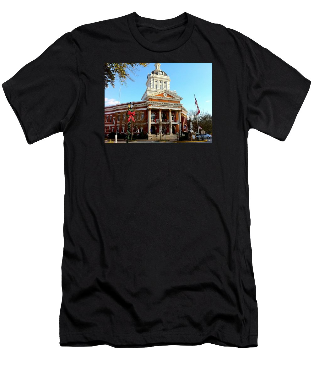 Historical Building Men's T-Shirt (Athletic Fit) featuring the photograph Madison's Morgan County Courthouse by Denise Mazzocco