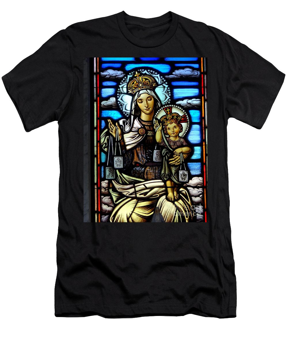 Stained Glass Men's T-Shirt (Athletic Fit) featuring the photograph Madonna And Child by Ed Weidman