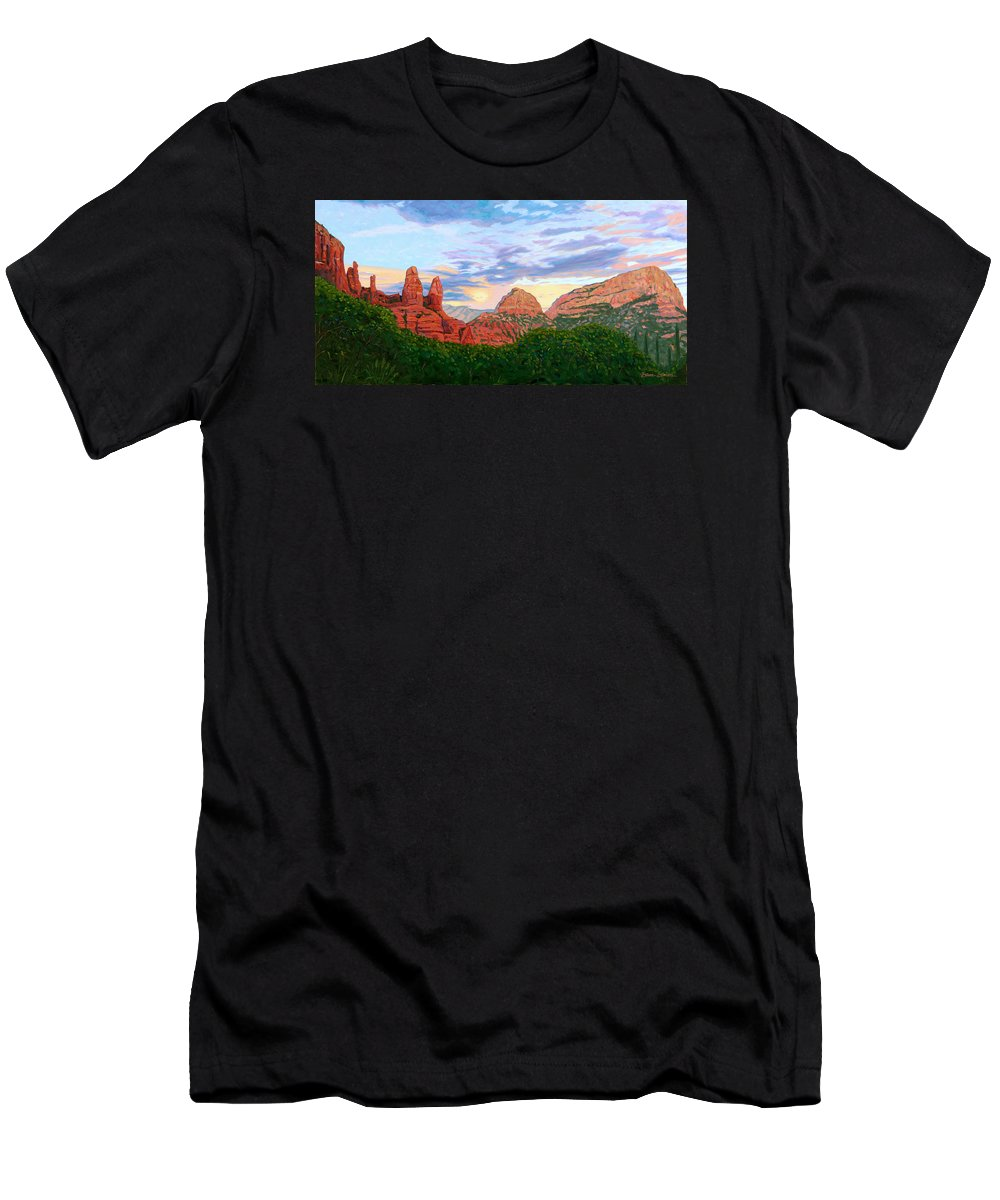 Madonna Men's T-Shirt (Athletic Fit) featuring the painting Madonna And Nuns - Sedona by Steve Simon