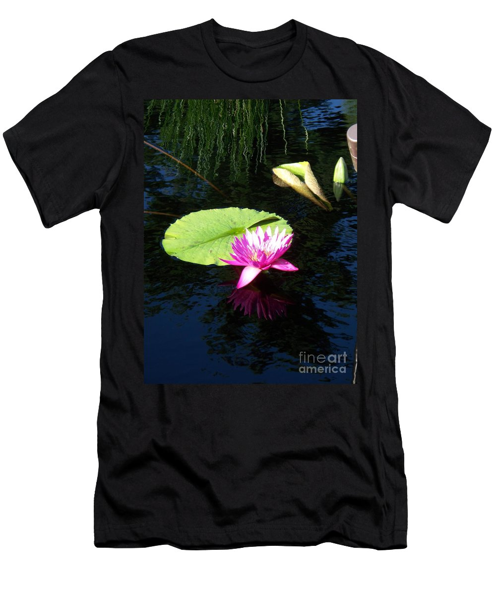 Water Lilies Men's T-Shirt (Athletic Fit) featuring the photograph Magenta Lily Monet by Eric Schiabor