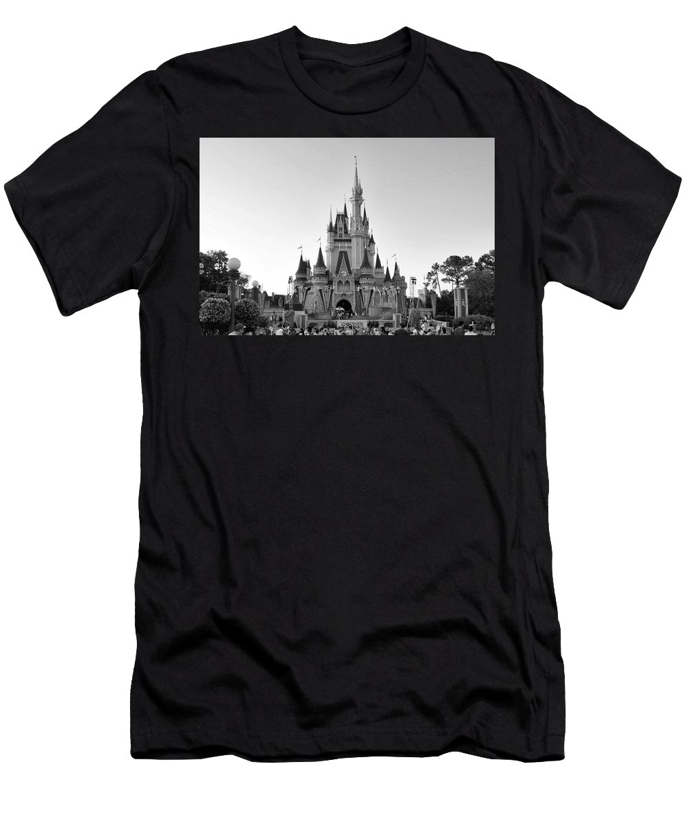 Castle Men's T-Shirt (Athletic Fit) featuring the photograph Magic Kingdom Castle In Black And White by Thomas Woolworth