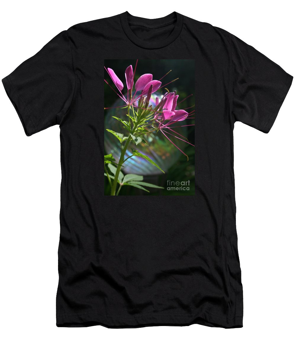 Flowers Men's T-Shirt (Athletic Fit) featuring the photograph Magical Cleome by Kathy DesJardins