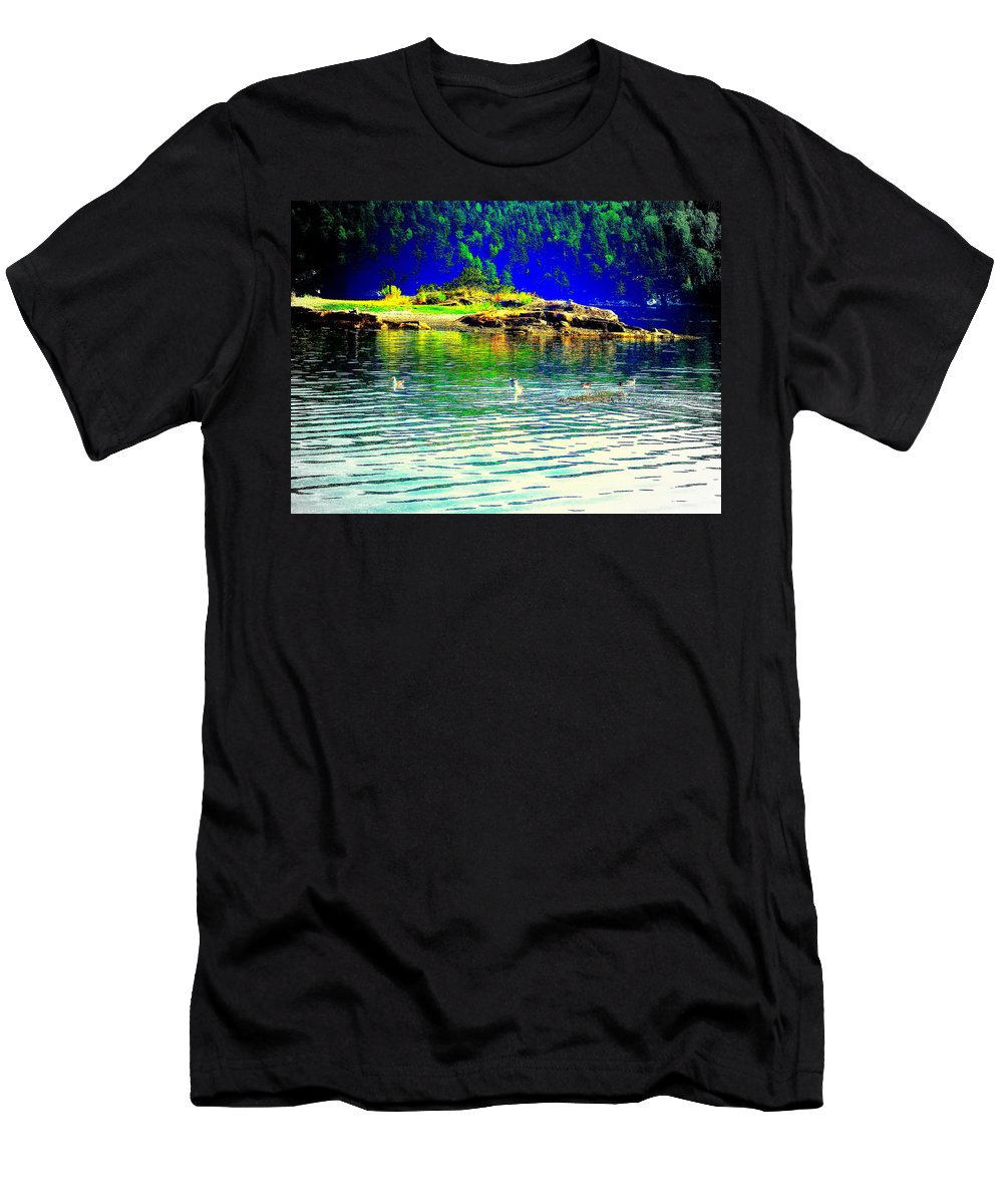 Water Men's T-Shirt (Athletic Fit) featuring the photograph Floating On The Magical Mystery Tour by Hilde Widerberg