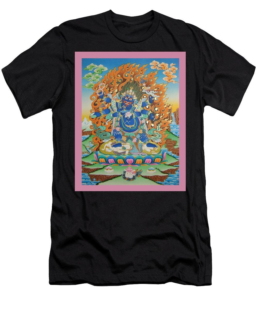 Mahankal Men's T-Shirt (Athletic Fit) featuring the painting Mahankal Thangka Art by Ts