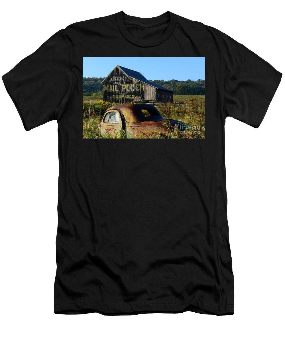 Paul Ward Men's T-Shirt (Athletic Fit) featuring the photograph Mail Pouch Barn And Old Cars by Paul Ward