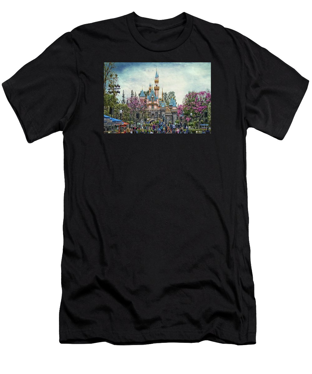 Castle Men's T-Shirt (Athletic Fit) featuring the photograph Main Street Sleeping Beauty Castle Disneyland Textured Sky by Thomas Woolworth