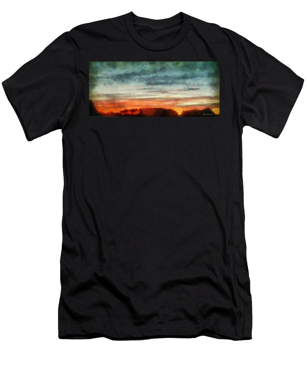 Landscape Men's T-Shirt (Athletic Fit) featuring the painting Maine Sunset by RC DeWinter
