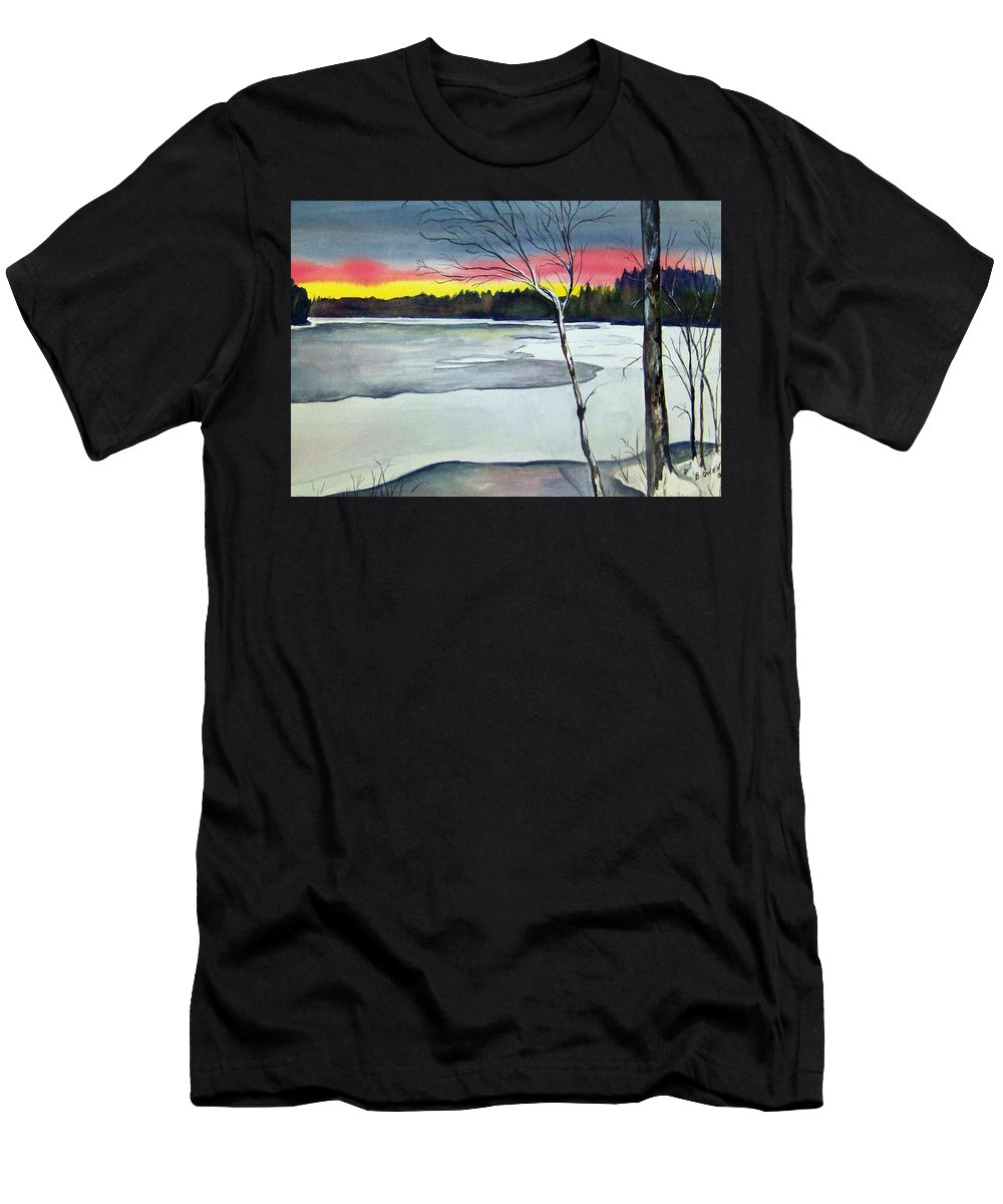 Landscape Men's T-Shirt (Athletic Fit) featuring the painting Maine Winter Sunset by Brenda Owen