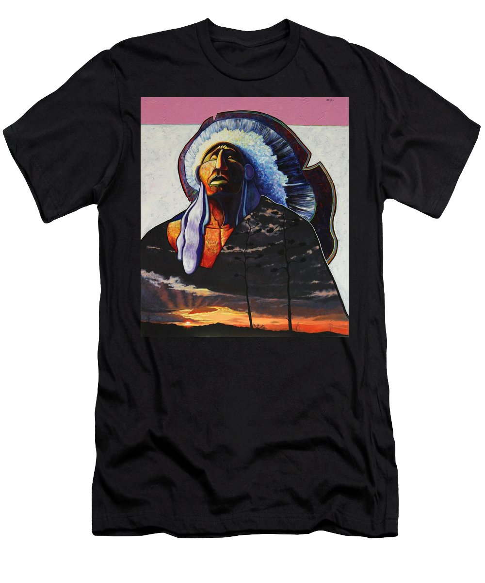 Native American Men's T-Shirt (Athletic Fit) featuring the painting Make Me Worthy by Joe Triano