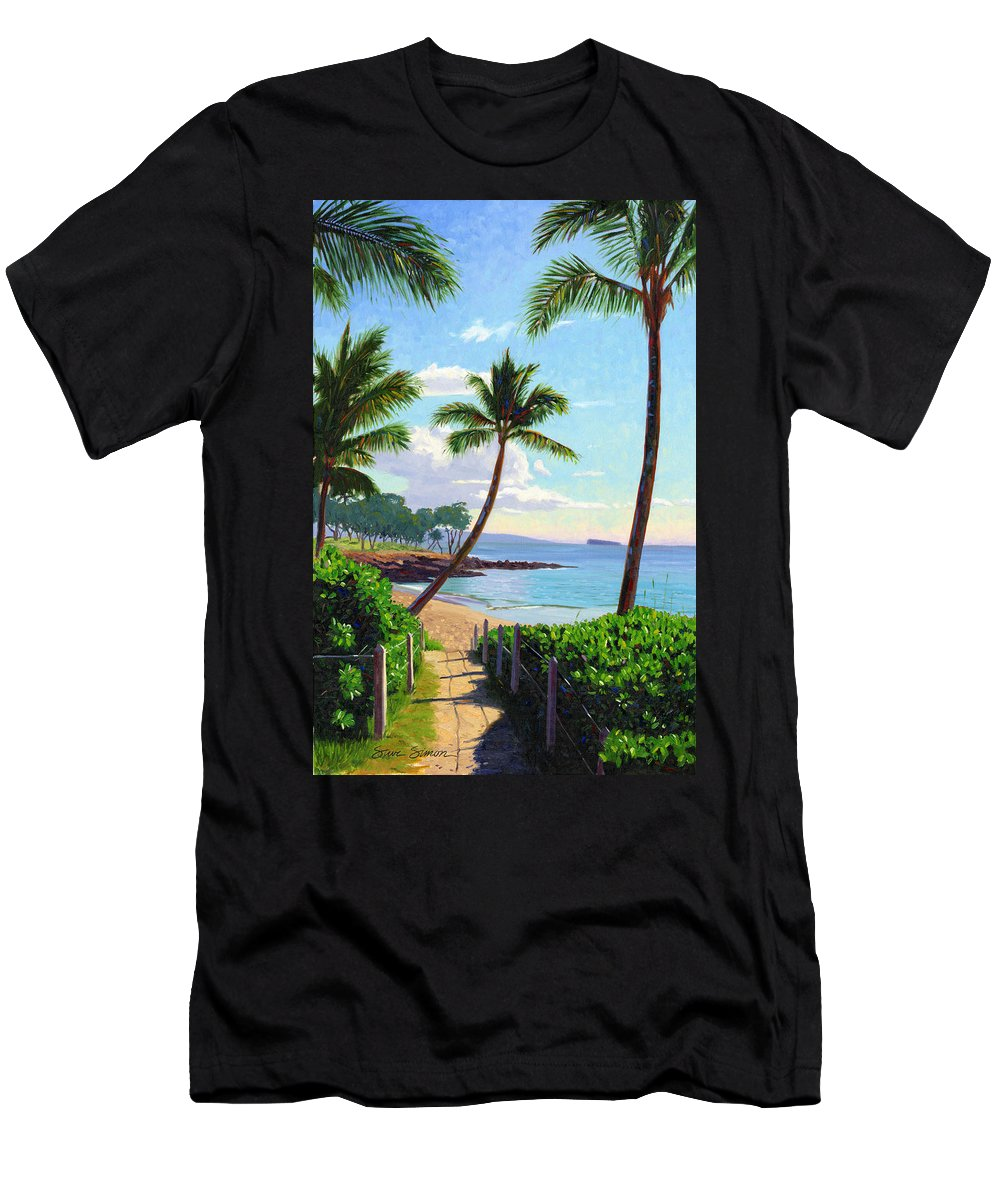 Makena Men's T-Shirt (Athletic Fit) featuring the painting Makena Beach - Maui by Steve Simon