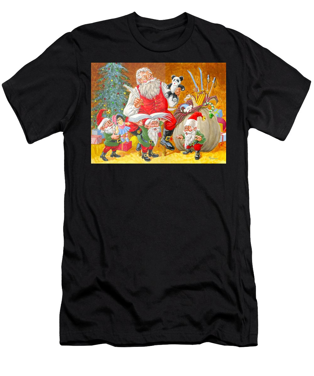 Santa Claus Men's T-Shirt (Athletic Fit) featuring the painting Making A List Checking It Twice by Richard De Wolfe