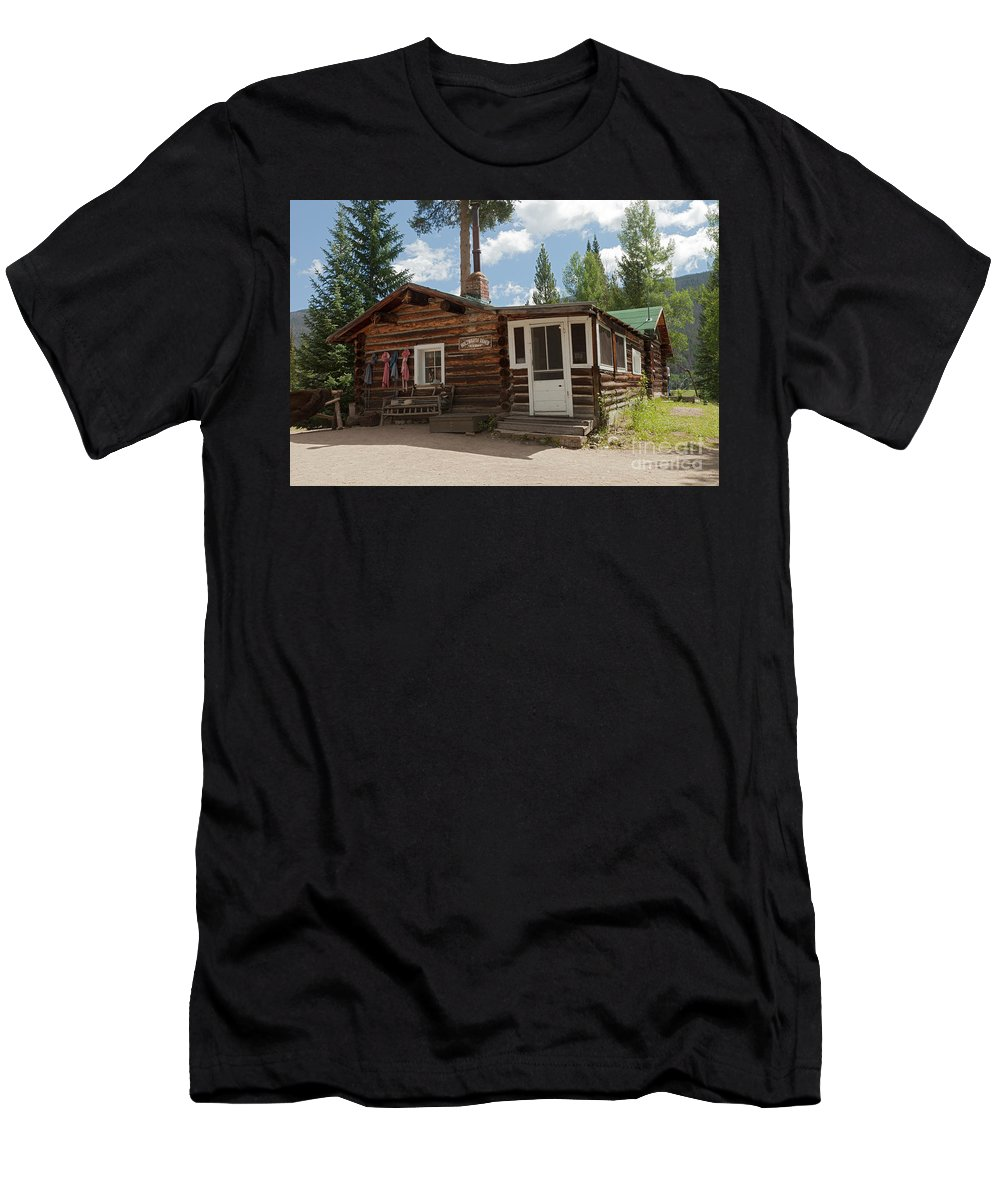 Cabin Men's T-Shirt (Athletic Fit) featuring the photograph Mamma Cabin At The Holzwarth Historic Site by Fred Stearns
