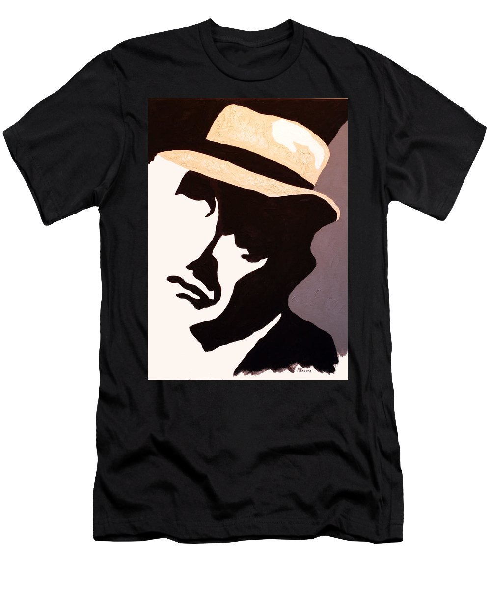Man Men's T-Shirt (Athletic Fit) featuring the painting Man In Hat by Andrew Petras