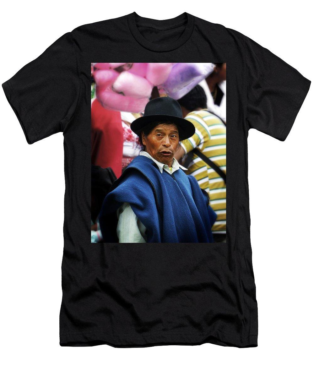 Man Men's T-Shirt (Athletic Fit) featuring the photograph Man Of Cotacachi Ecuador by Kurt Van Wagner
