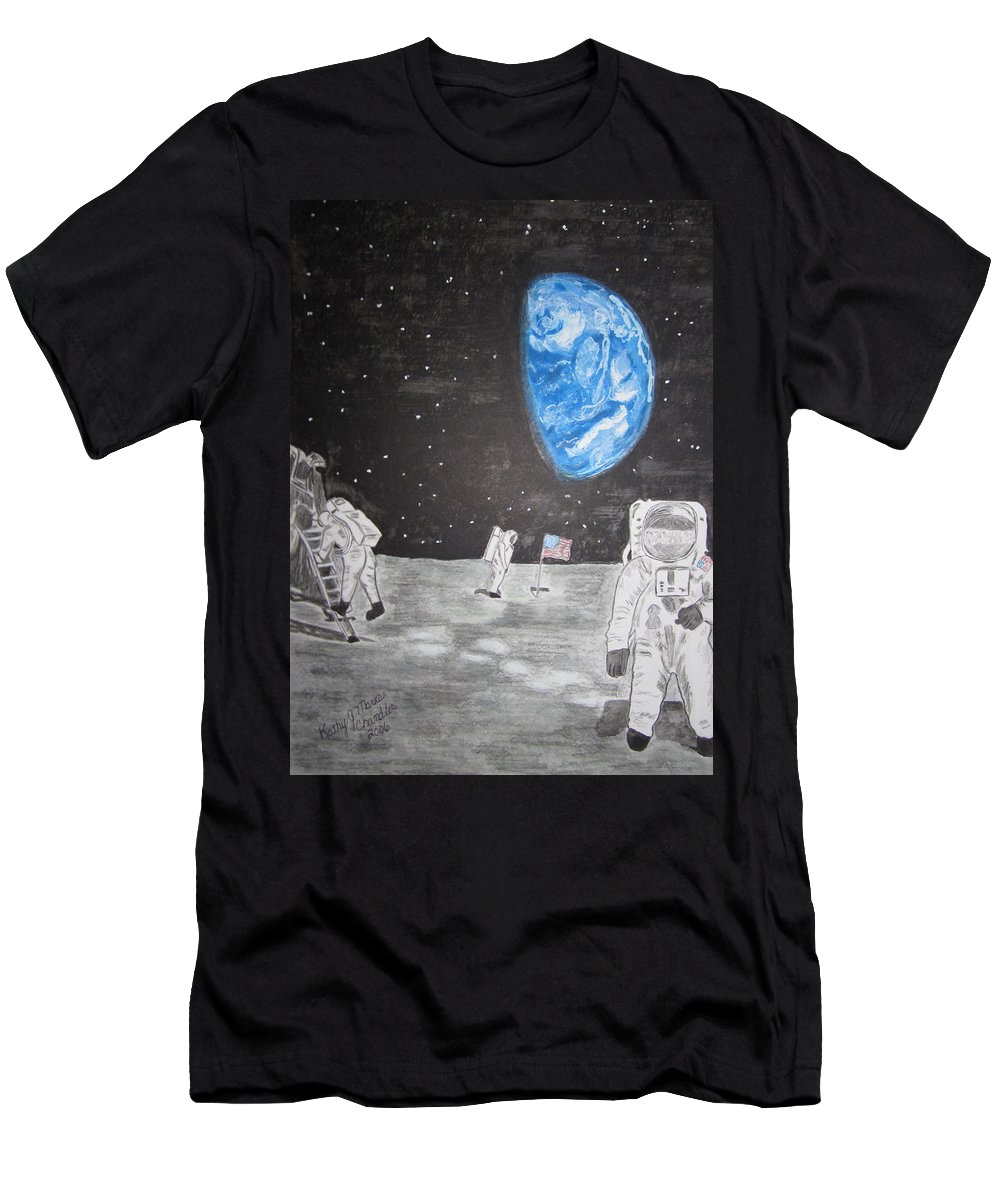 Stars Men's T-Shirt (Athletic Fit) featuring the painting Man On The Moon by Kathy Marrs Chandler