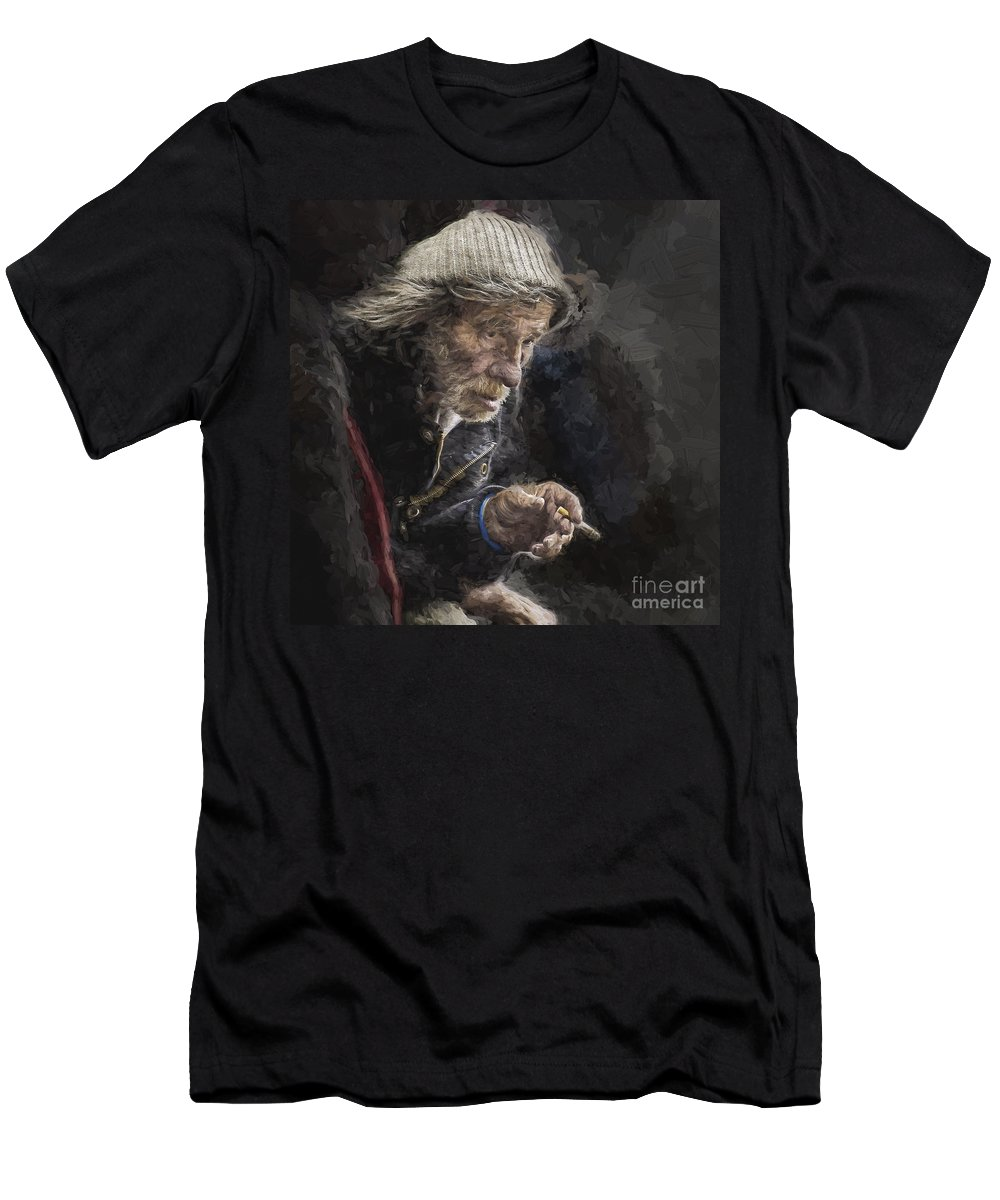 Homeless T-Shirt featuring the photograph Man with cigarette by Sheila Smart Fine Art Photography