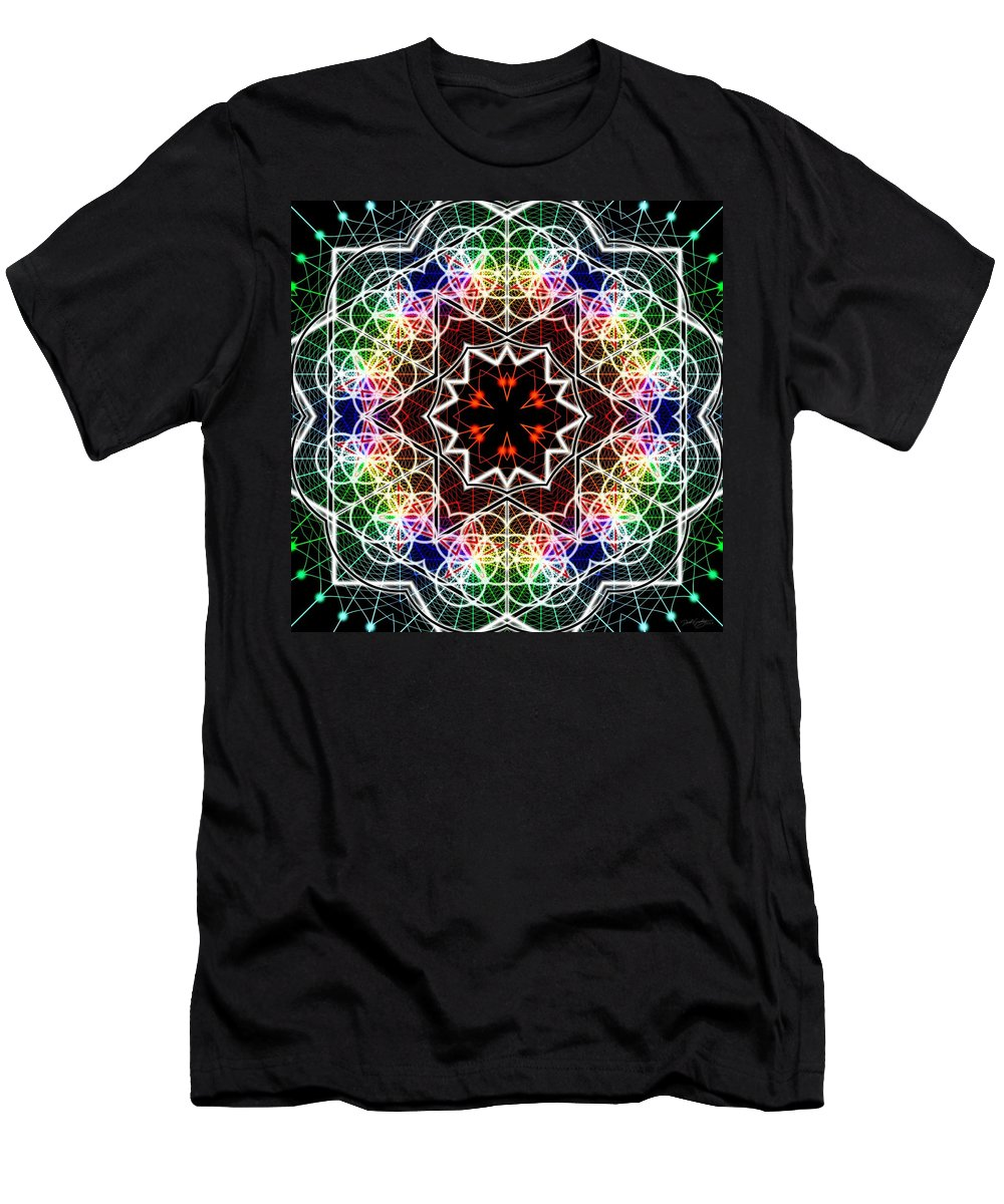 Mandala Cage Of Light Men's T-Shirt (Athletic Fit) featuring the digital art Mandala Cage Of Light by Derek Gedney