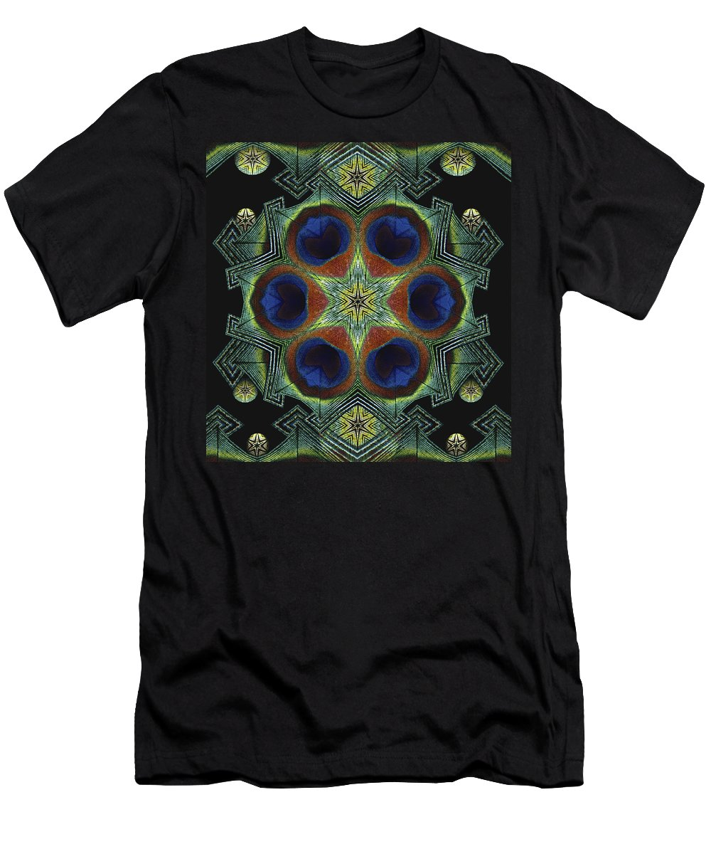 Mandala Men's T-Shirt (Athletic Fit) featuring the digital art Mandala Peacock by Nancy Griswold