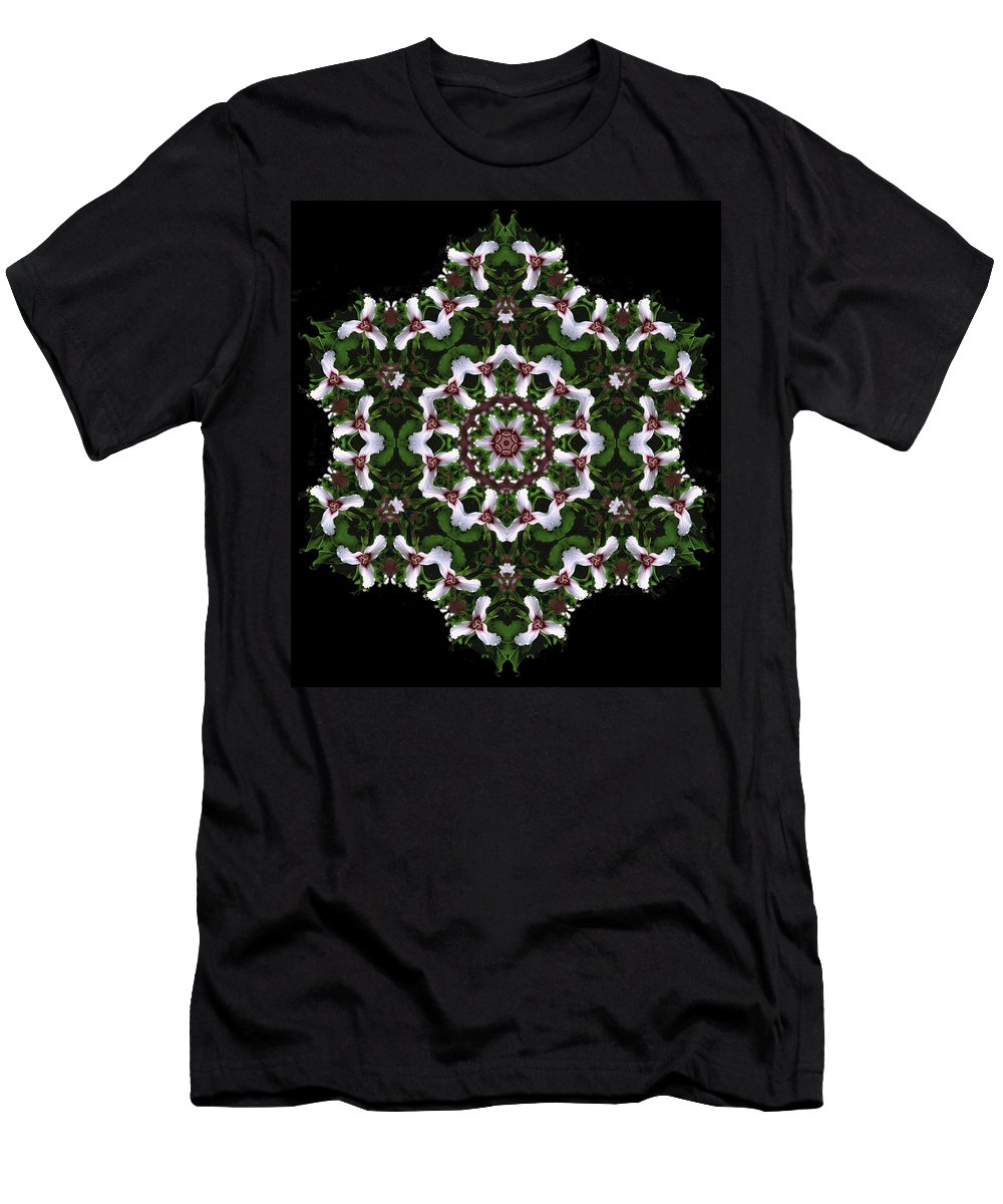 Mandala Men's T-Shirt (Athletic Fit) featuring the digital art Mandala Trillium Holiday by Nancy Griswold